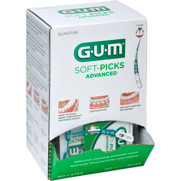 GUM SOFT PICKS Advanced Large 100 Stück gebogen