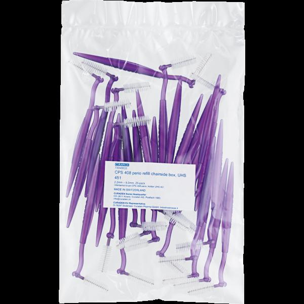 CURAPROX Perio Bürsten LILA Clinicpack 25 Stück CPS408 vormontiert auf UHS451 mini-click Halter