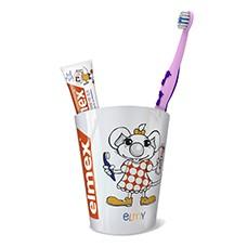 Zahnputzbecher mit elmex Lern-Zahnbürste und einer 12ml Tube elmex Kinder-Zahnpasta